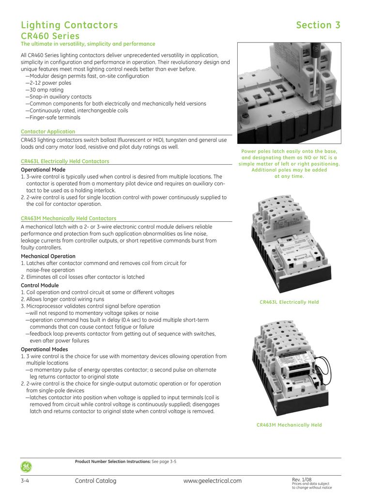 GE Control Catalog - Section 3: Lighting Contactors on