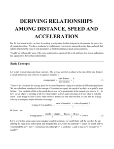 deriving relationships among distance, speed and acceleration