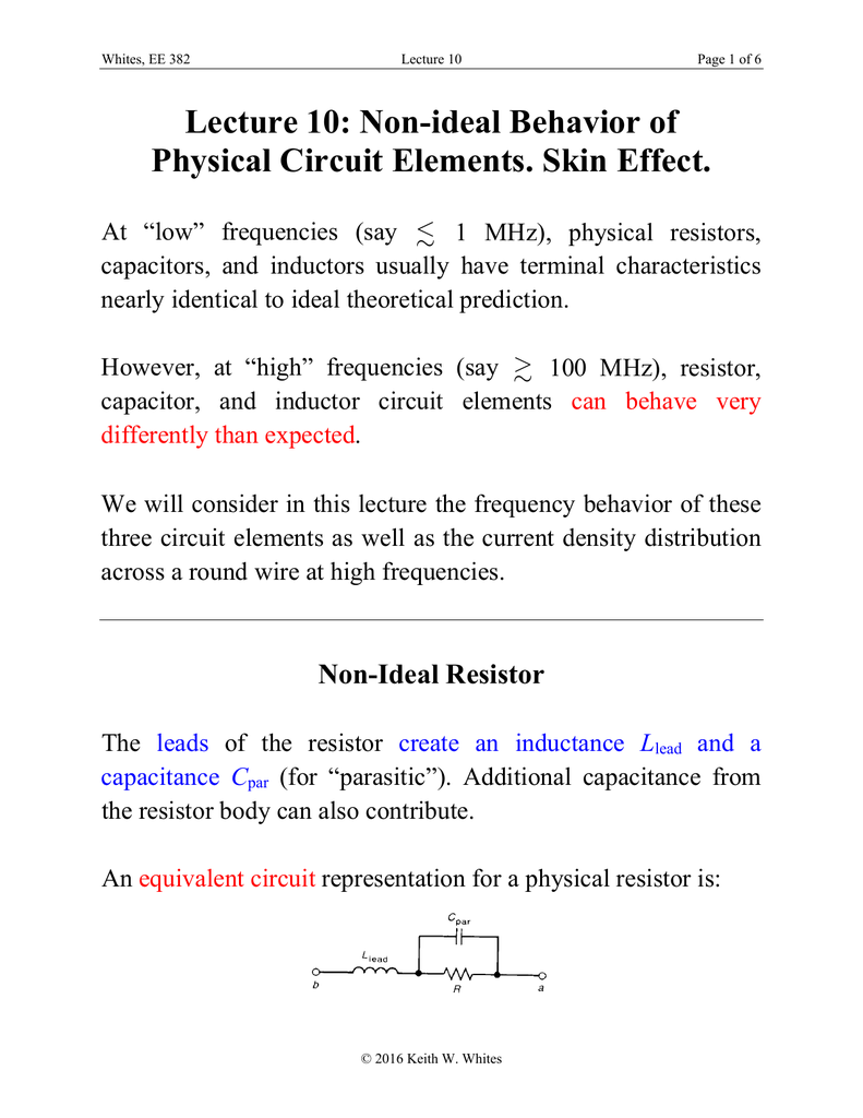 Lecture 10 Non Ideal Behavior Of Physical Circuit Elements Skin Inductor Equivalent A Real