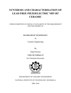 synthesis and characterisation of lead free piezoelectric nbt