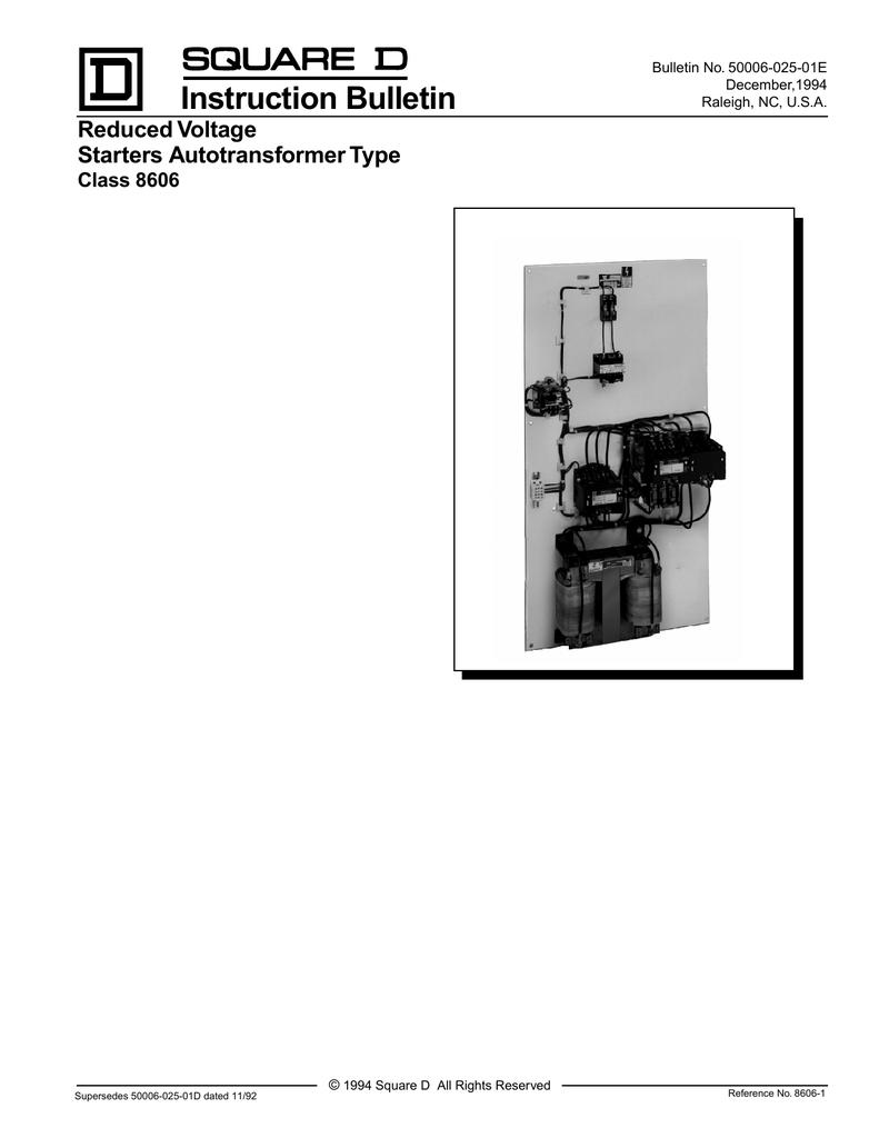 Autotransformer Type Reduced Voltage Starters 94 580 Case Starter Wiring Diagram
