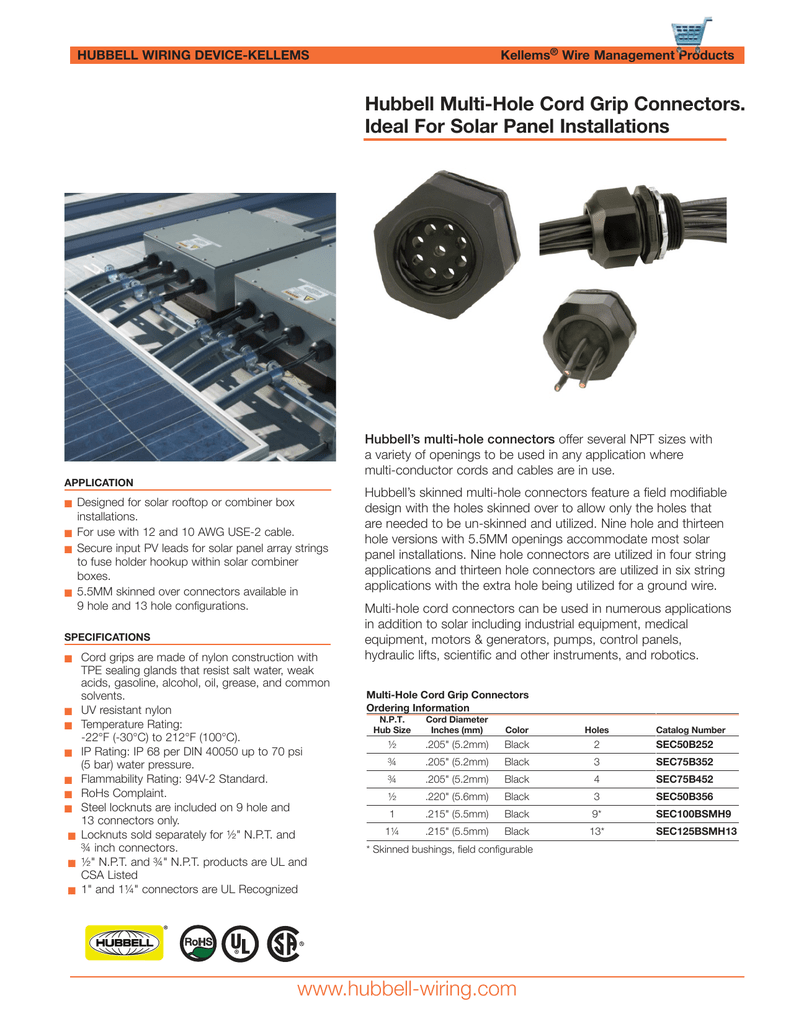 Hubbell Multi Hole Cord Grip Connectors Wiring Catalog
