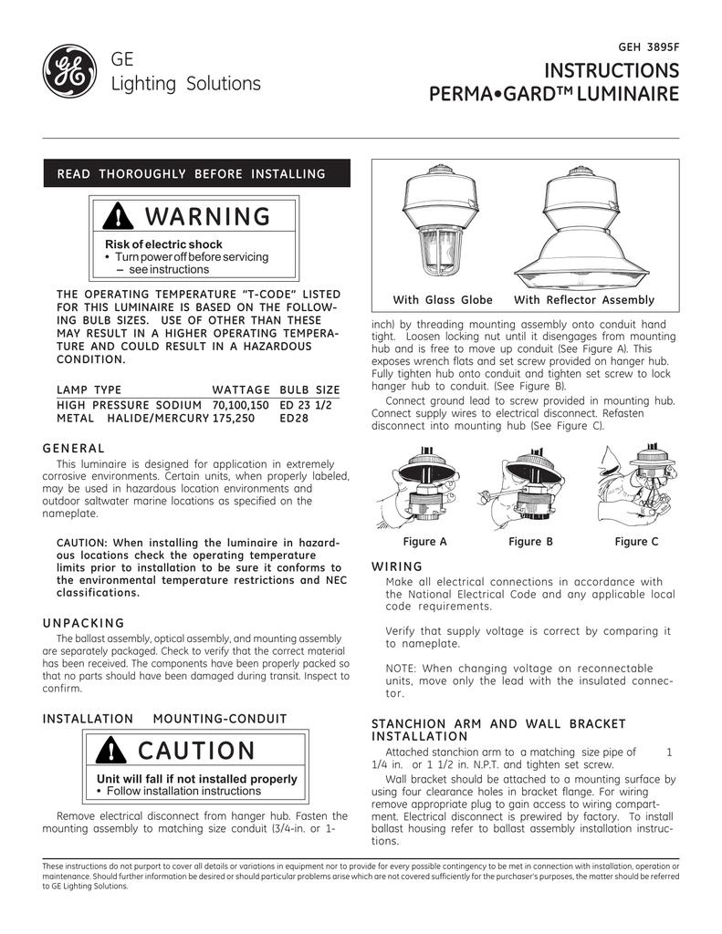 Installation Guide — PermaGard Luminaire | GEH3895F