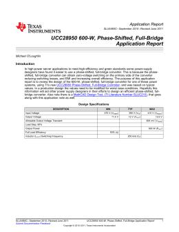 UCC28950 600-W, Phase-Shifted, Full-Bridge