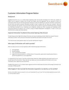 Customer Information Program Notice Letter, December 2012