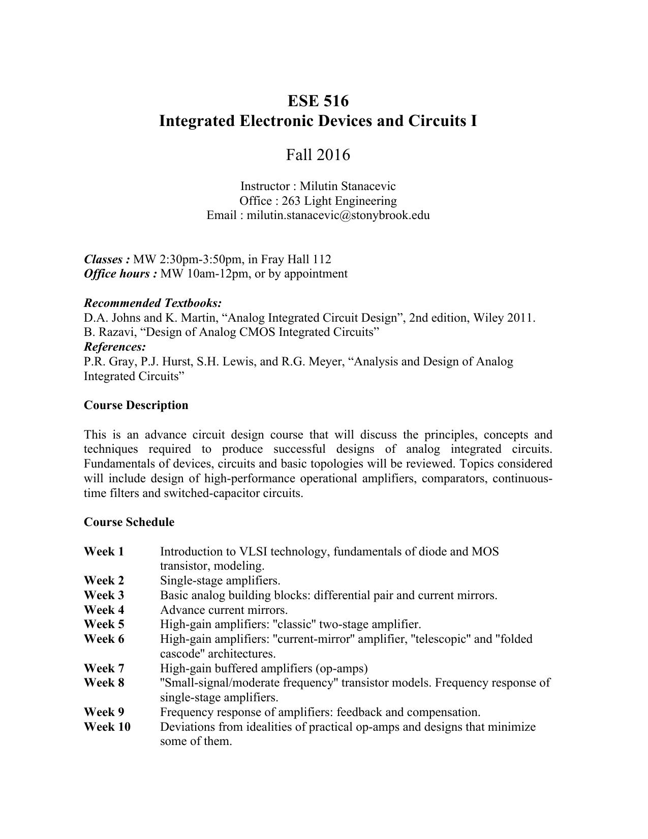 Ese 516 Stony Brook University Electronic Circuit Design Topics