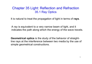 Chapter 35 Light: Reflection and Refraction