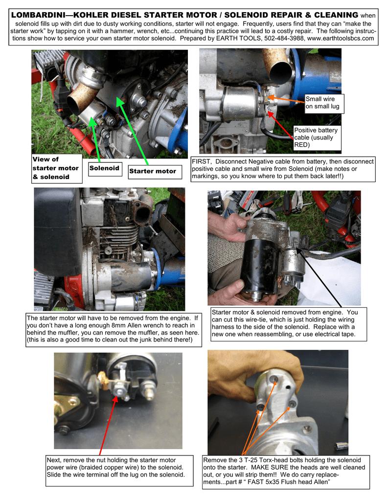 Diesel starter motor / solenoid repair