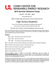 2015 Summer Research Camp - Conn Center for Renewable