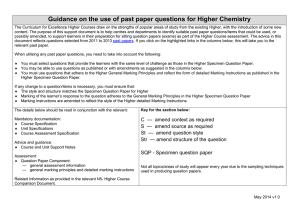 Guidance on the use of past paper questions for Higher