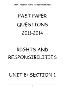 PAST PAPER QUESTIONS RIGHTS AND RESPONSIBILITIES UNIT