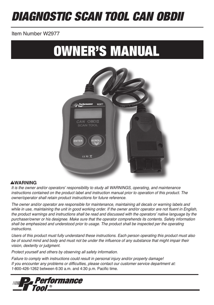 Manual for OBD II Automotive Fault Code Reader