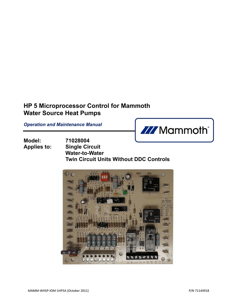 HP 5 Microprocessor Control for Mammoth Water Source Heat Pumps Mammoth Heat Pump Wiring Diagram on