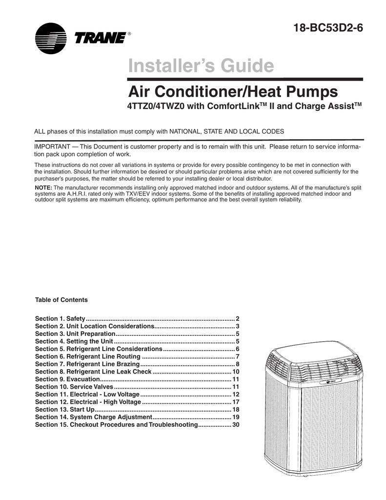 Trane Installer`s Guide Air Conditioner/Heat Pump 4TTZ0/4TWZ0