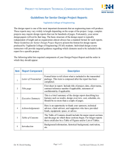 Guidelines for Senior Design Project Reports