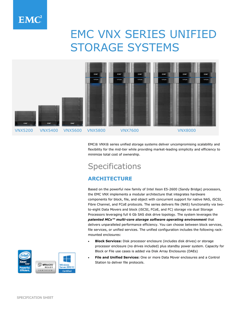EMC VNX Series Unified Storage Systems Specification Sheet