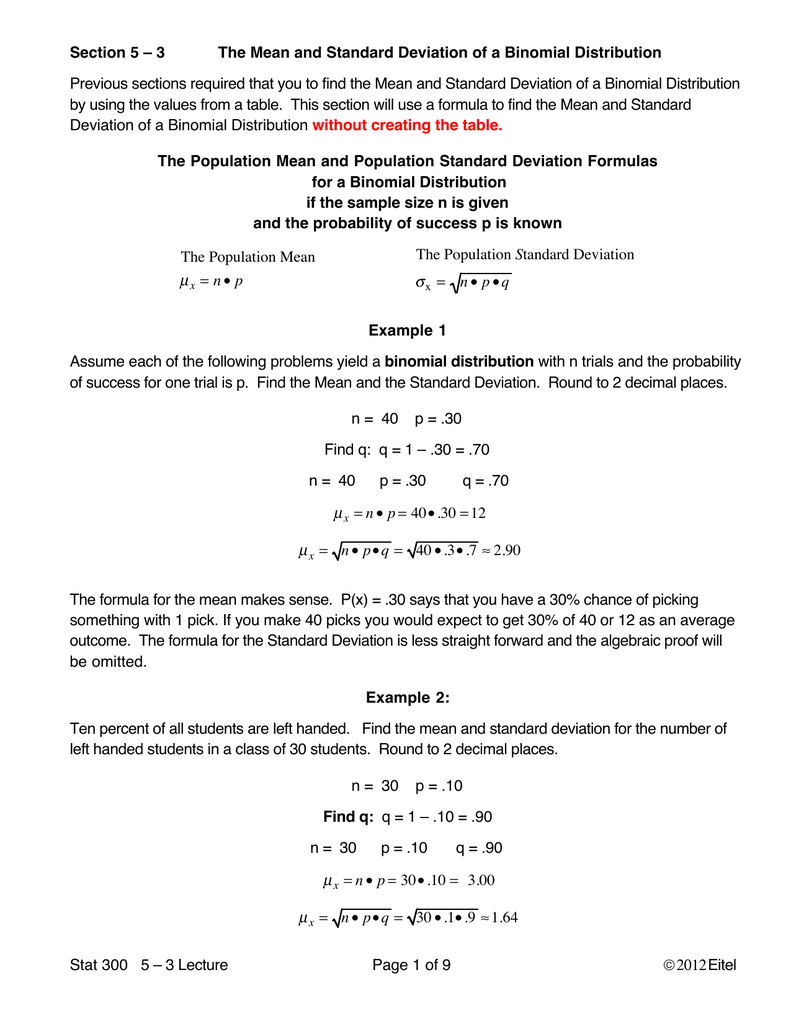 The Mean and Standard Deviation of Binomial Probability