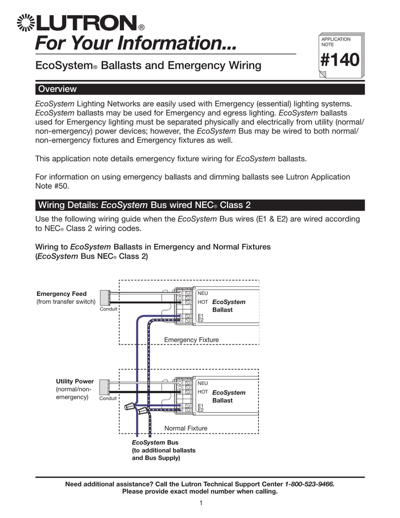 For Your Information... EcoSystem® Ballasts and Emergency WiringStudyLib
