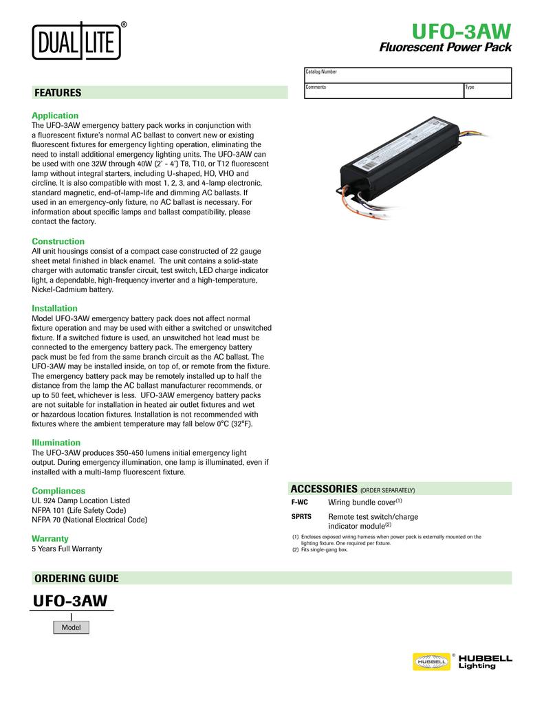 Dual Lite Emergency Ballast Wiring Diagram List Of Schematic Ruud Urgg 07e24jkr Lampak Ufo 3aw Specification Sheet Rh Studylib Net