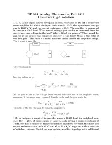 EE 321 Analog Electronics, Fall 2011 Homework #1 solution