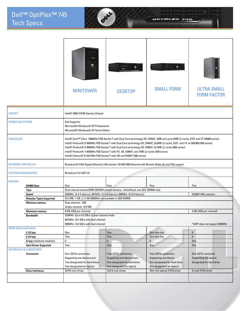 Dell Optiplex 745 Tech Specs