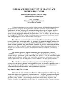 Energy and Demand Study of Heating and Cooling Equipment
