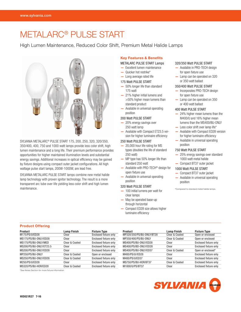 100 Watt Metal Halide Pulse Start Lamp Bulb MEDIUM BASE E-26 9000 LUMENS NEW