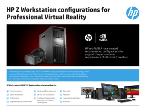 HP Z Workstation configurations for Professional Virtual Reality