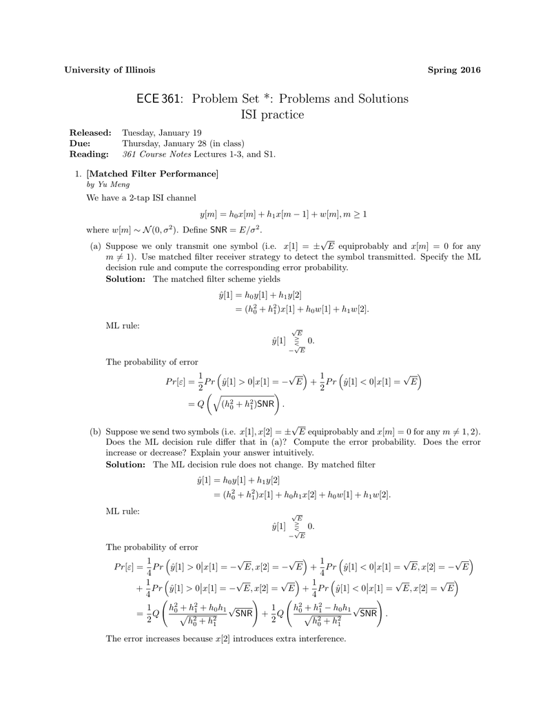 ECE 361: Problem Set *: Problems and Solutions ISI practice