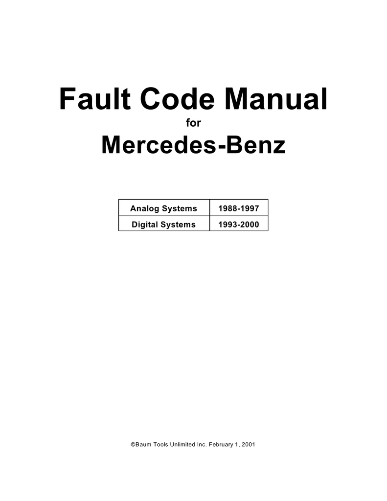 MB Fault Code Manual 1988-2000 - MBSLK de - The SLK