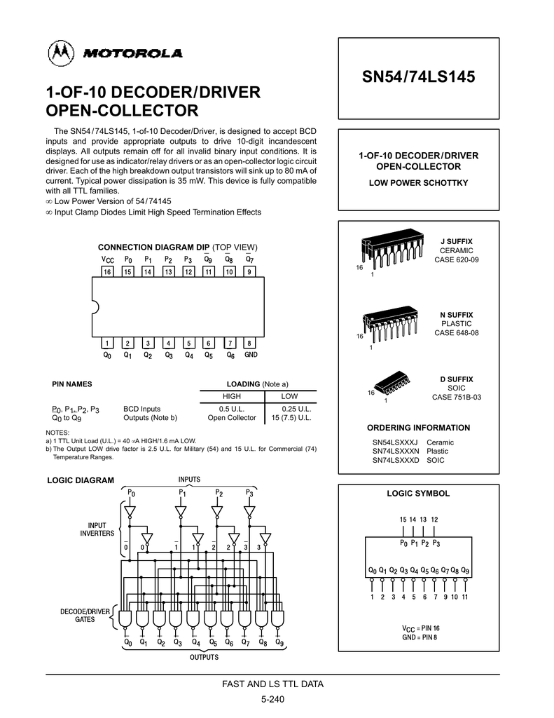 1-OF-10 DECODER/DRIVER OPEN