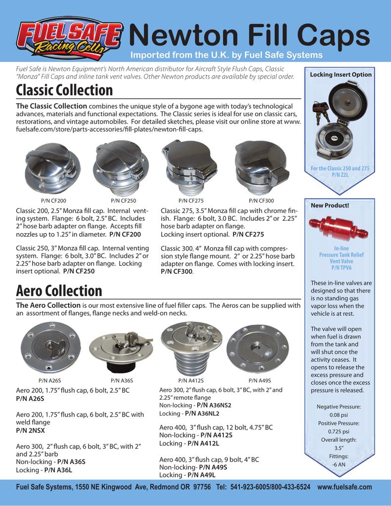 Newton Fill Caps - Newton Equipment Ltd
