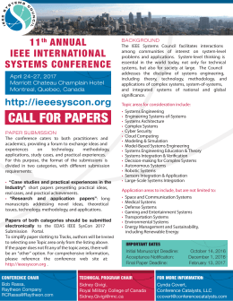 the IEEE SysCon 2017 Call for Papers