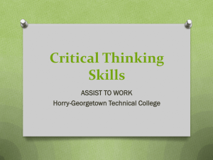 Critical Thinking Skills - Horry Georgetown Technical College