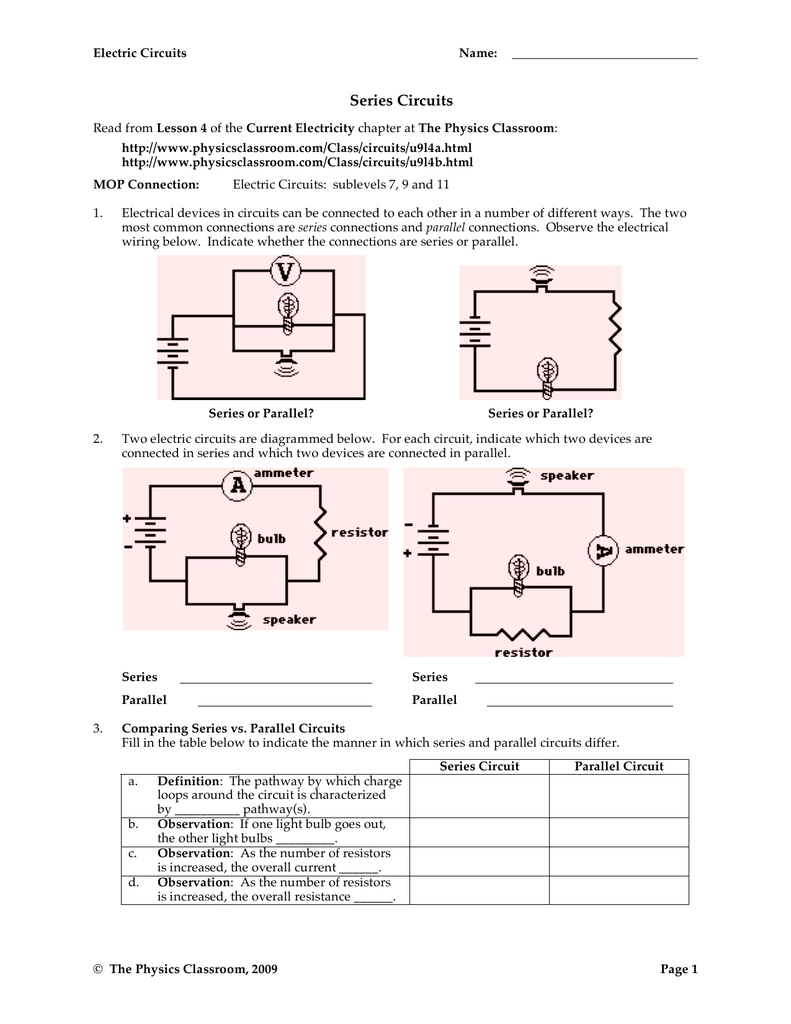 Series Circuits The Physics Classroom Parallel Circuit Diagram For Wiring