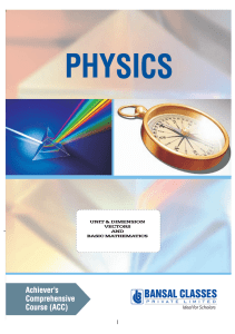 Physics - Units and Dimensions