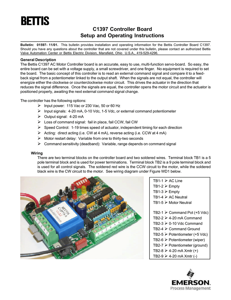 C1397 Controller Board Manual 10vdc Wiring Diagram