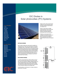 EIC Diodes in Solar photovoltaic (PV) Systems