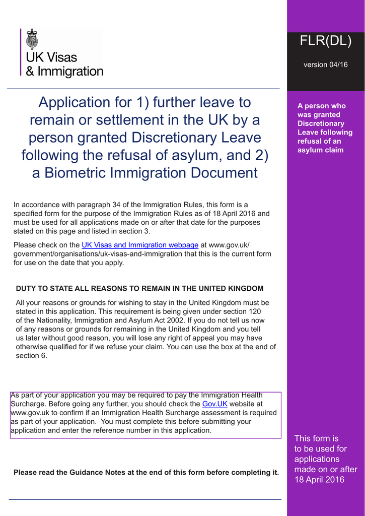 Application For 1 Further Leave To Remain Or Settlement In The