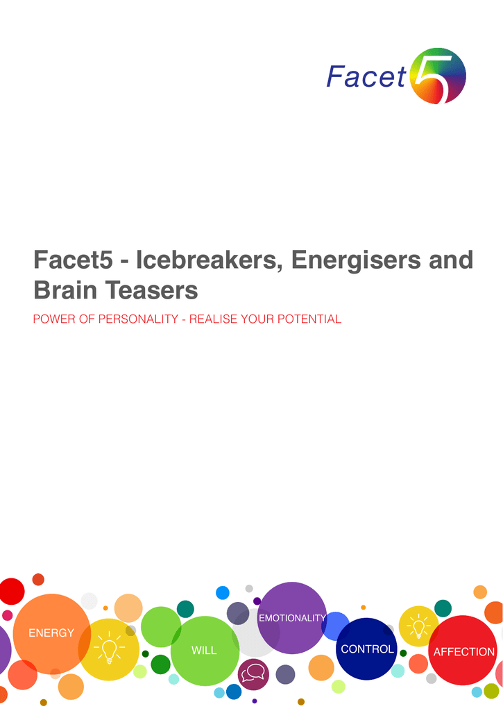 Facet5 - Icebreakers, Energisers and Brain Teasers