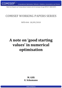A note on `good starting values` in numerical optimisation