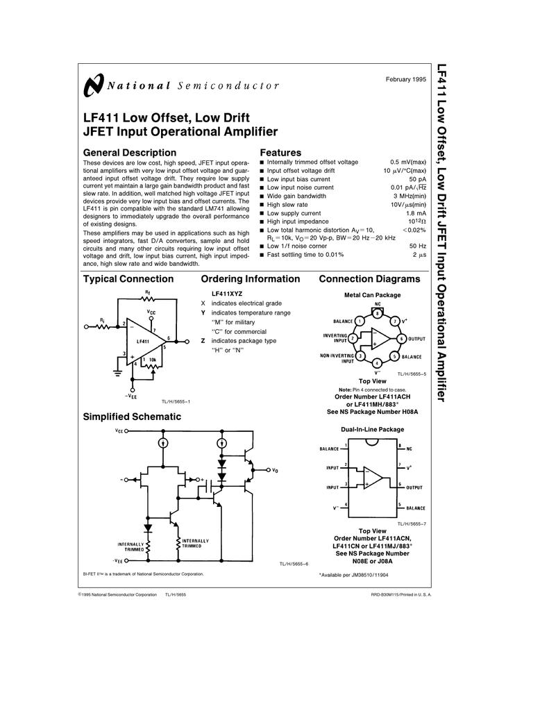 lf411 low offset low drift jfet input operational amplifier rh studylib net