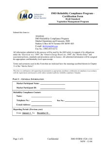 IMO Reliability Compliance Program - Certification Form