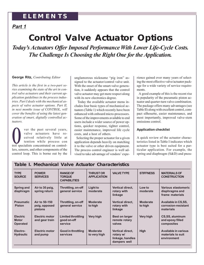 Control Valve Actuator Options