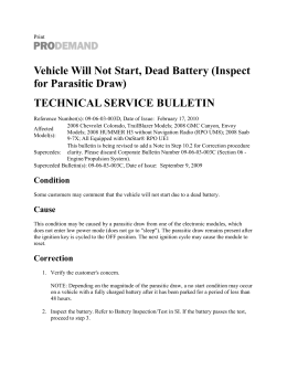 Vehicle Will Not Start, Dead Battery (Inspect for Parasitic Draw