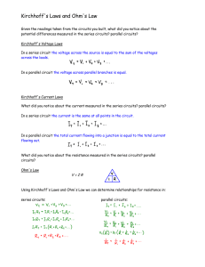 Kirchhoff`s Laws and Ohm`s Law