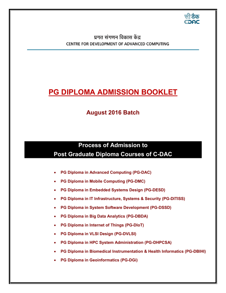 Pg Diploma Admission Booklet C Dac