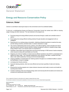 General Statement Energy and Resource Conservation Policy