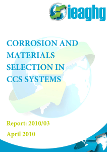 CORROSION AND SELECTION OF MATERIALS FOR CARBON