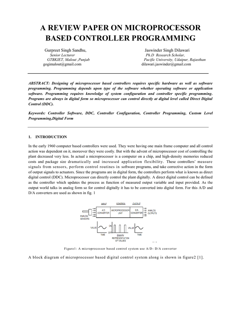A Review Paper On Microprocessor Based Controller